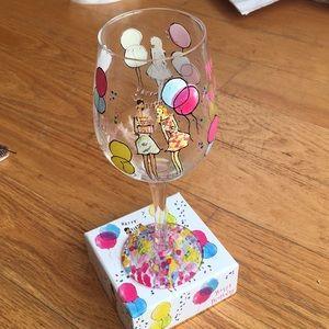 Lilly Pulitzer birthday wine glass